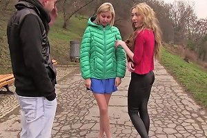 Perverted Girls Vlada B And Her Gf Are Fucked By Horny Stranger