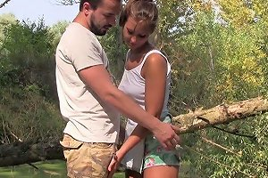 Alluring 18 Yo Teen Is Making Love With Her Boyfriend In The Forest