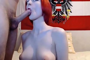 Exquisite Redhead Teen Gives Blowjob